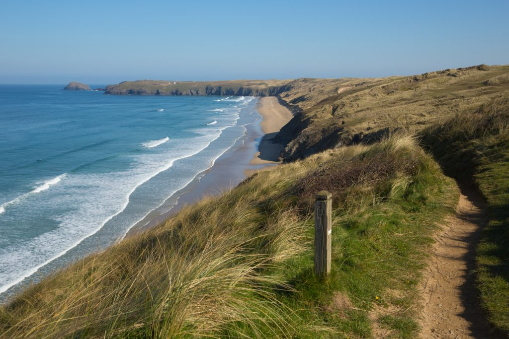 South west Coast path Perran sands Perranporth North Cornwall England UK