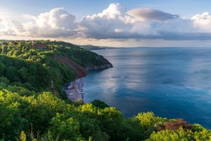 View at Oddicombe Beach and Petit Tor Point, Torbay, England, UK