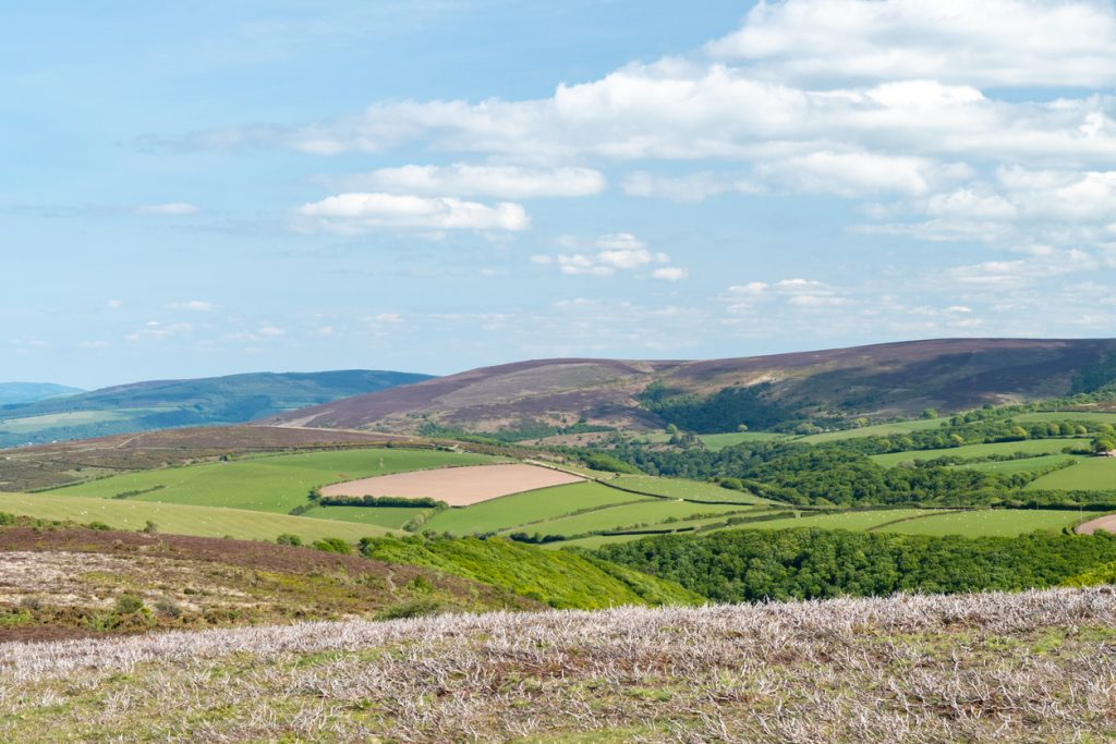 View from the top of Porlock Hill of Dunkery Hill in Somerset