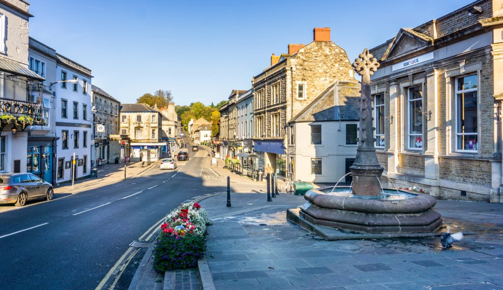 Frome town centre & Market Cross in Market Place, Frome, Somerset, UK taken on 21 October 2018