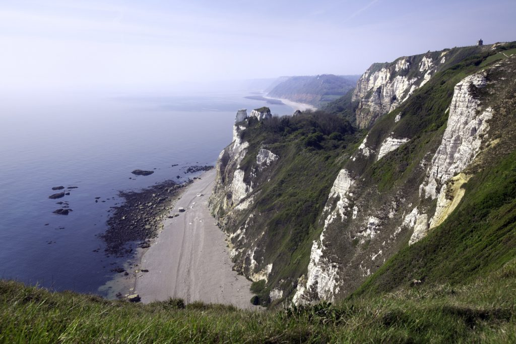 Dramatic cliff path between Branscombe and Beer in South Devon