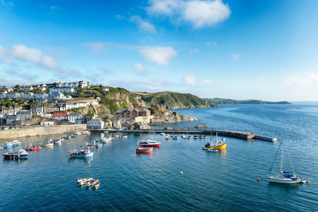 The harbour at Mevagissey a traditional fishing port in Cornwall