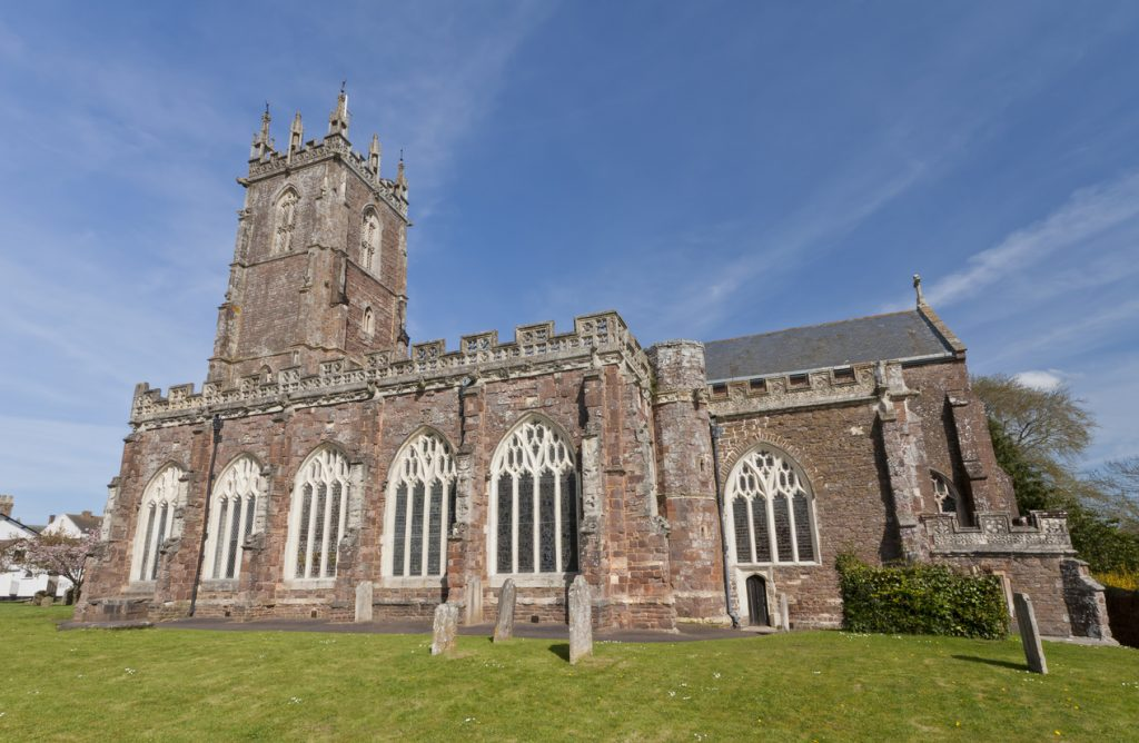 St Andrews Church in the historic town of Cullompton in Devon, England.