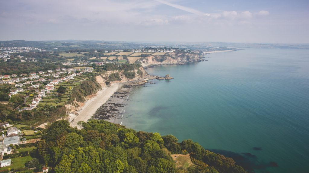 An aerial photo looking across the coastline in St Austell, Cornwall