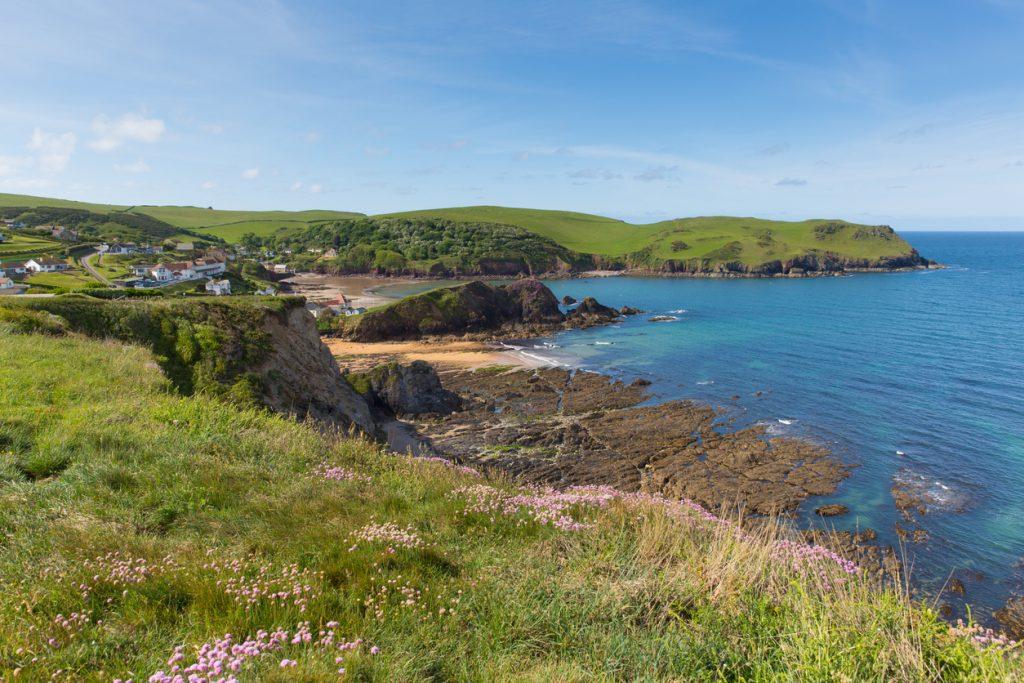 Uk south coast Hope Cove Devon near Salcombe in summer blue sea and sky