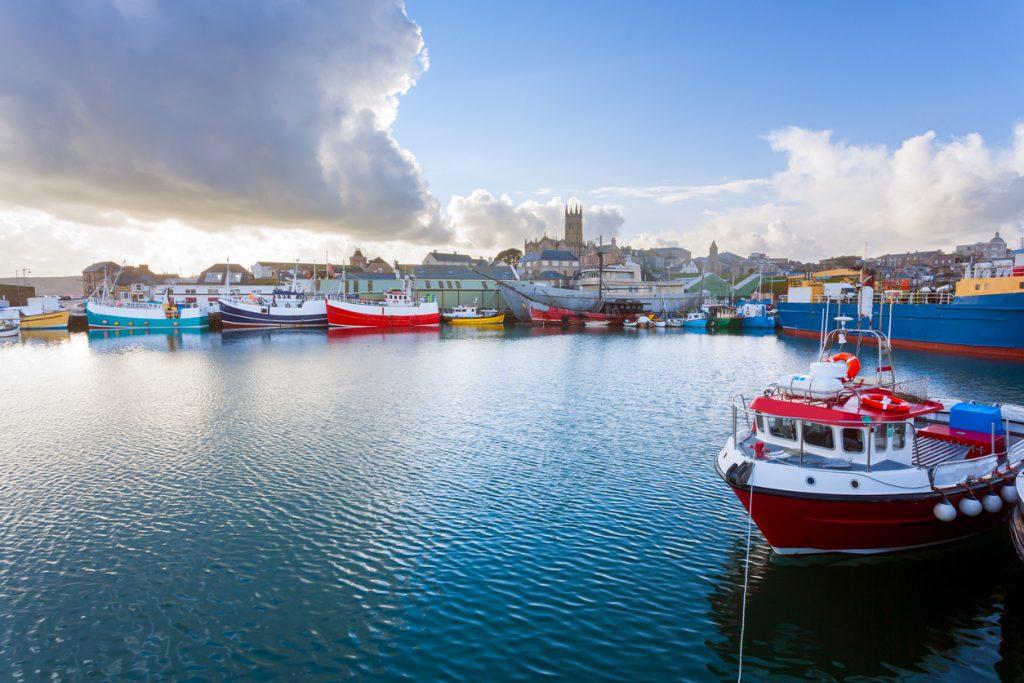 Dramatic sky over Penzance Harbour Cornwall England UK Europe