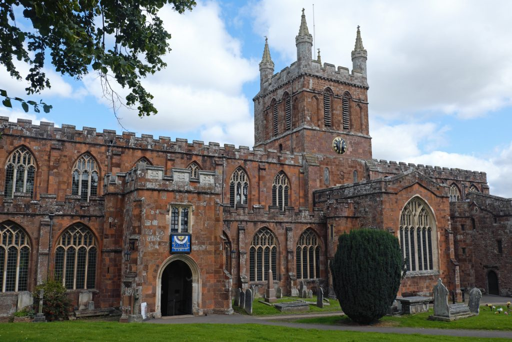 The twelth century parish church at Crediton in Devon, formerly known as the Church of the Holy Cross and the Mother of Him who Hung Thereon