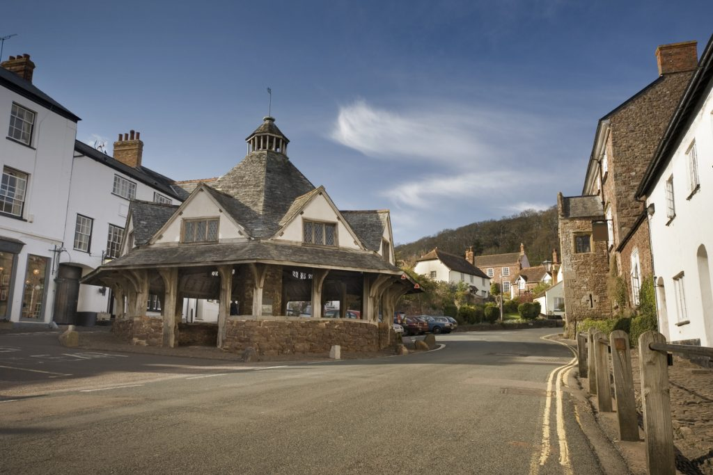 The historic Yarn Market in the West Somerset village of Dunster, taken in late afternoon.