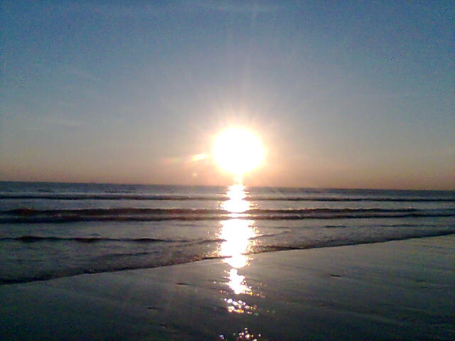 Sunset on a beach near Bude