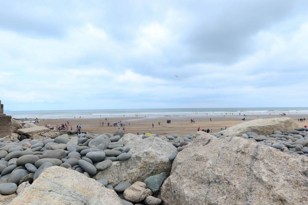 Busy beach at Westward Ho