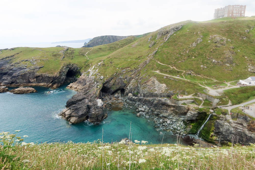 View of Tintagel coastline and Camelot hotel