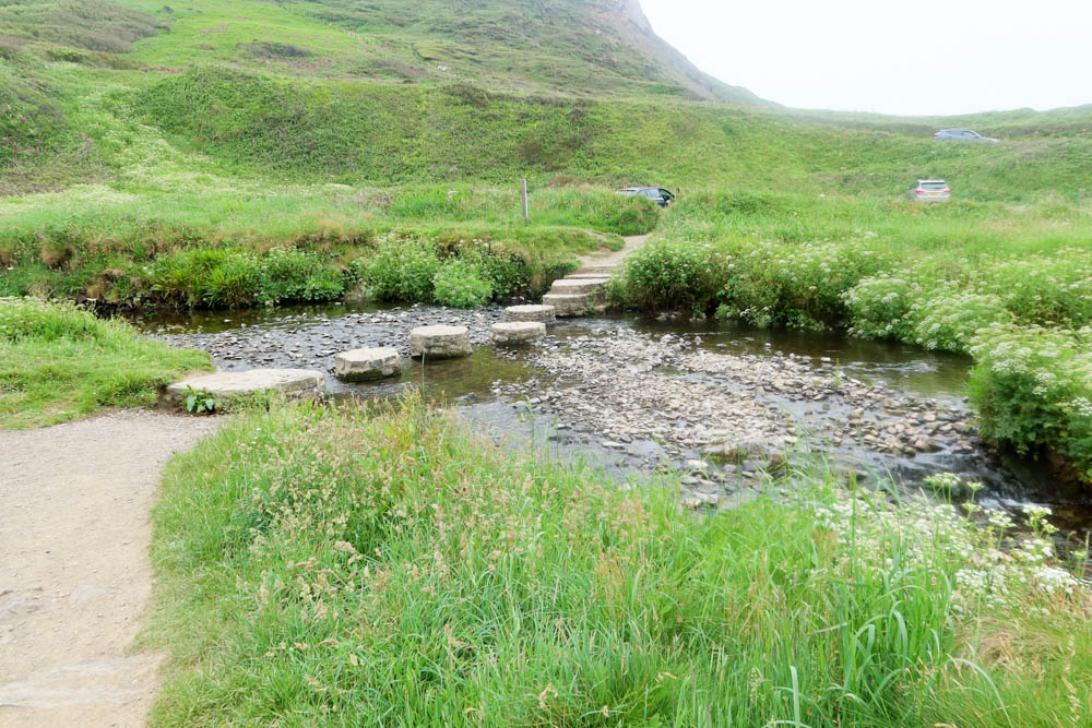 Stepping stones over river