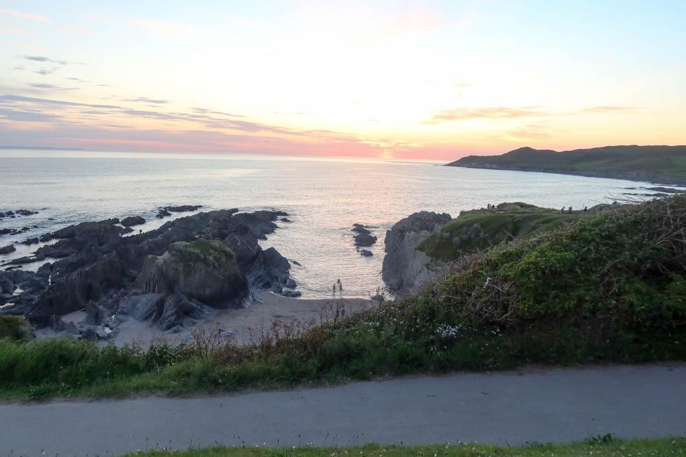 Sun set and rocks at Woolacombe
