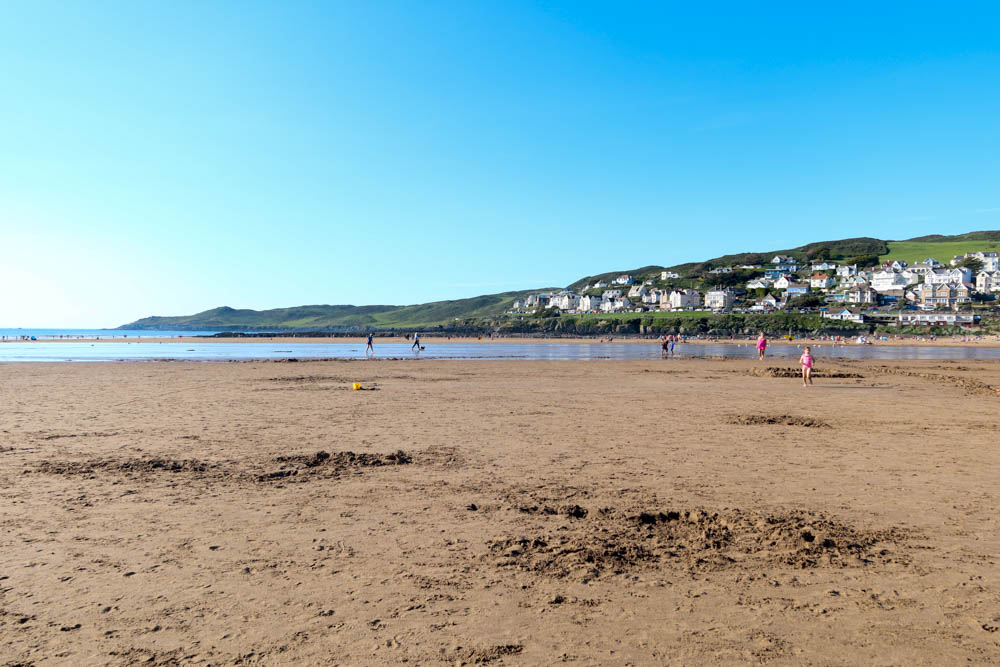 View of Woolacombe beach with morte point in background