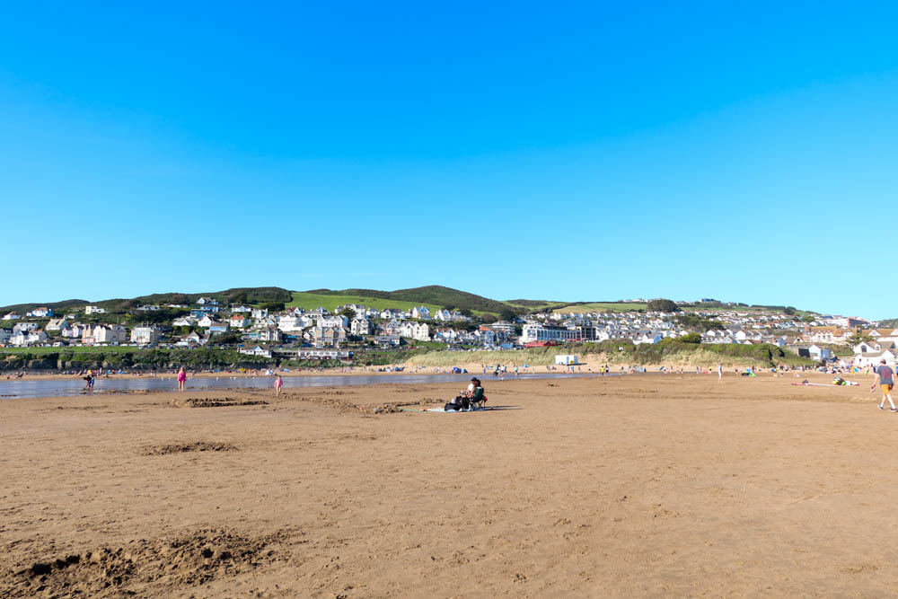 View of Woolacombe beach with town in background