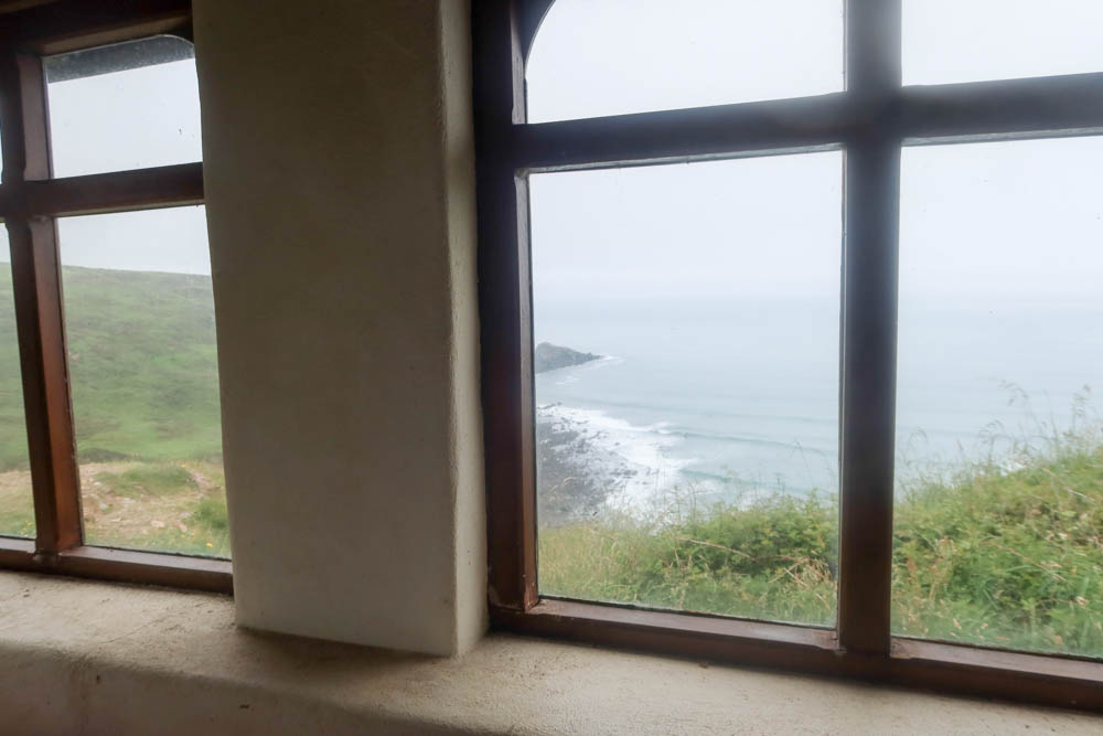 View out of window on South West Coast Path