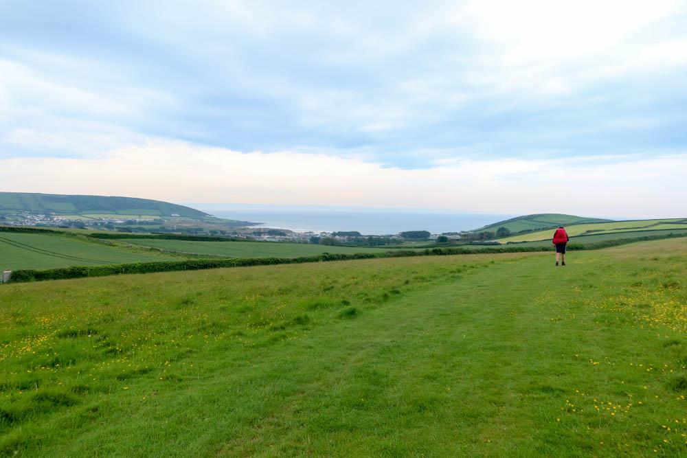 Walking across a field to Croyde