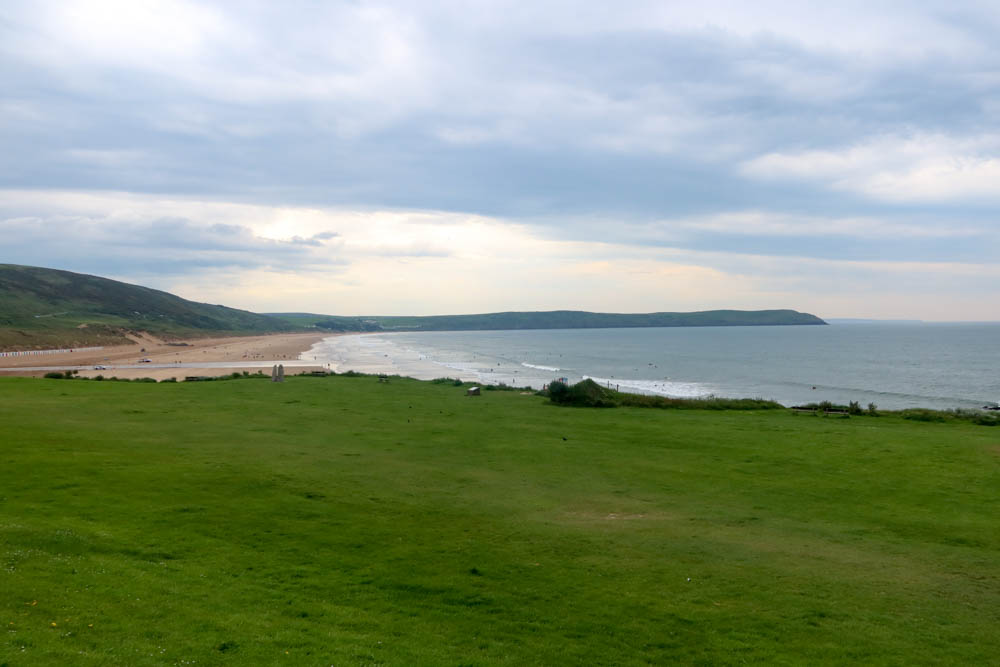 Woolacombe beach with large headland, baggy point