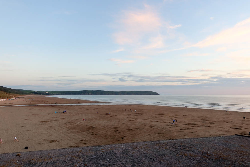 Woolacombe sands at dusk with Baggy Point in Background