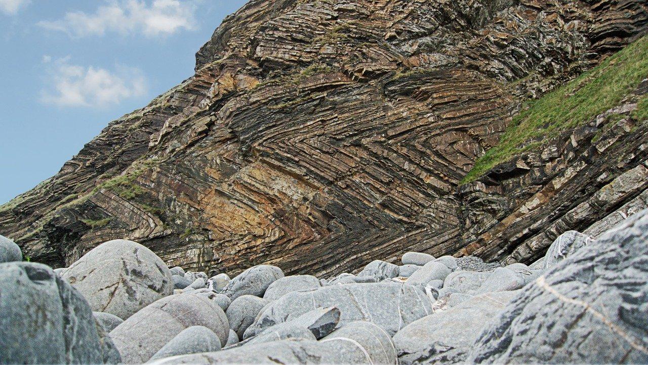 Folded cliffs on a beach near Bude