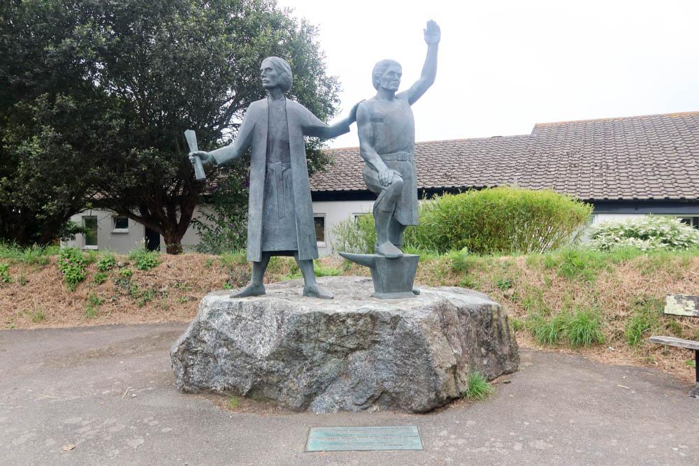 Statues of Cornish rebels in St Keverne, Lizard