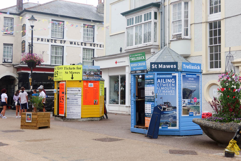 huts advertising St Mawes ferry in Falmouth