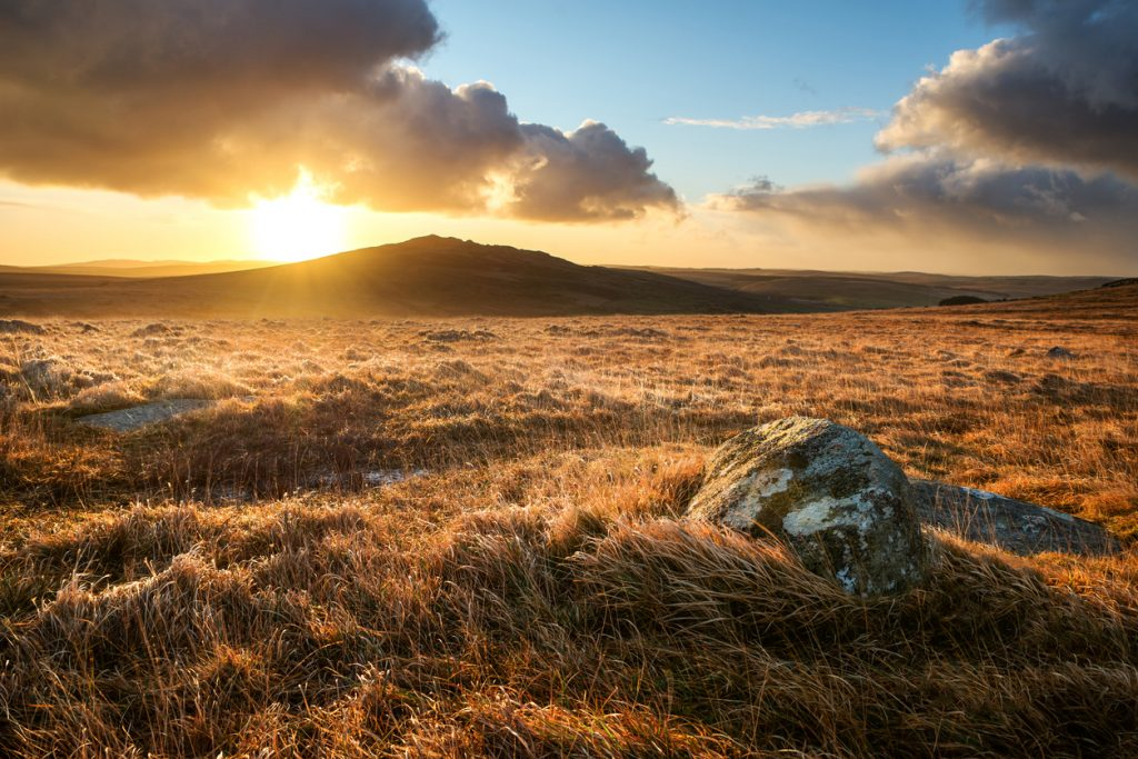 Brown Willy on Bodmin Moor Cornwall is Cornwalls highest geographical point. Captured here at sunrise after a storm clears, UK
