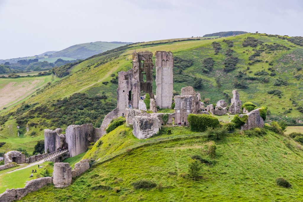 Corfe castle ruins and hills in Dorset, England