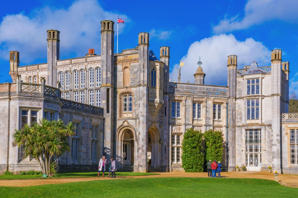 This is Highcliffe Castle, it is a popular destination which people visit to view the traditional British architecture on February 11, 2018 in Christchurch