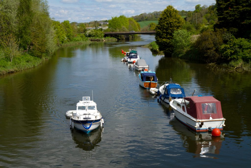 The River Dart runs through Totnes and this is the view from the bridge