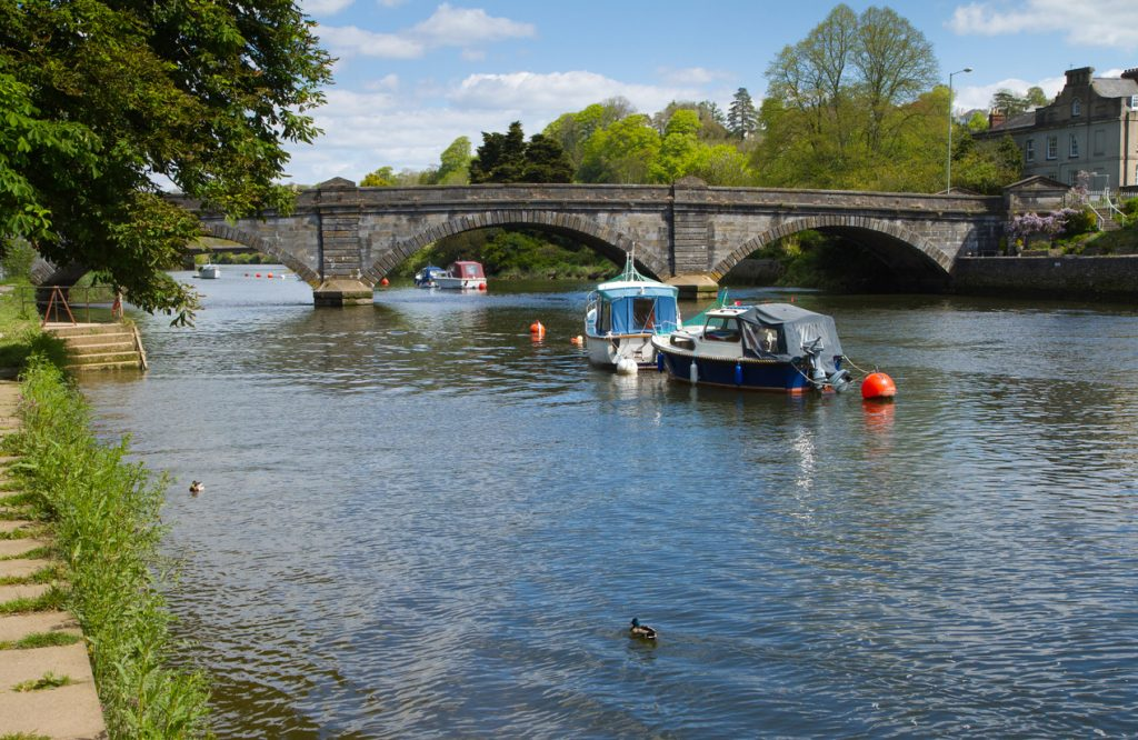 View of the Totnes bridge and the River Dart in Devon England