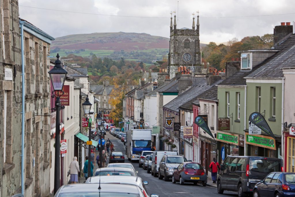 Tavistock, England – 28 October, 28, 2015: The central shopping area in the small Devon market town on the edge of Dartmoor National Park